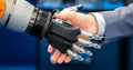 Hand of a businessman shaking hands with a droid robot. The conc - PhotoDune Item for Sale