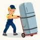 Cartoon Porter Transporting Fridge By Cart Poster