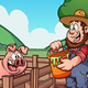 Farmer Feeding Pig - GraphicRiver Item for Sale