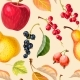 Vintage Seamless Pattern with Apples and Berries