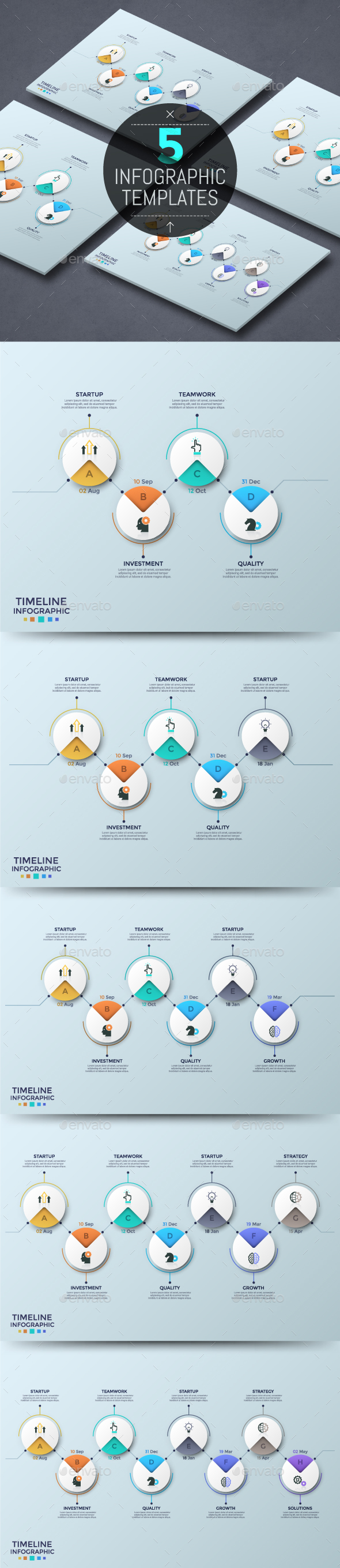 Zig-Zag Infographic Timelines (5 Items) - Infographics
