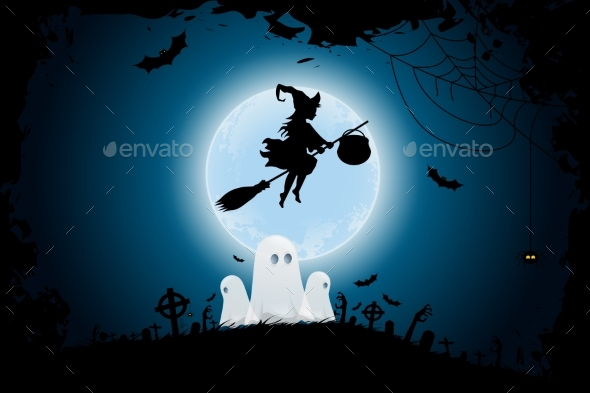 Halloween Background with Witch and Ghosts - Backgrounds Decorative