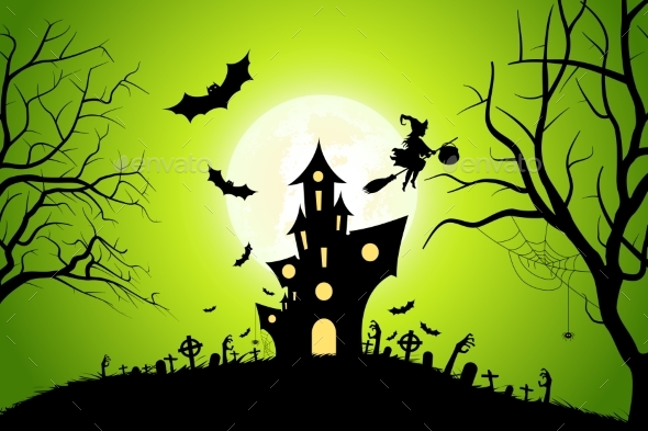 Halloween Background with Witch and Haunted House - Halloween Seasons/Holidays