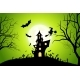 Halloween Background with Witch and Haunted House - GraphicRiver Item for Sale