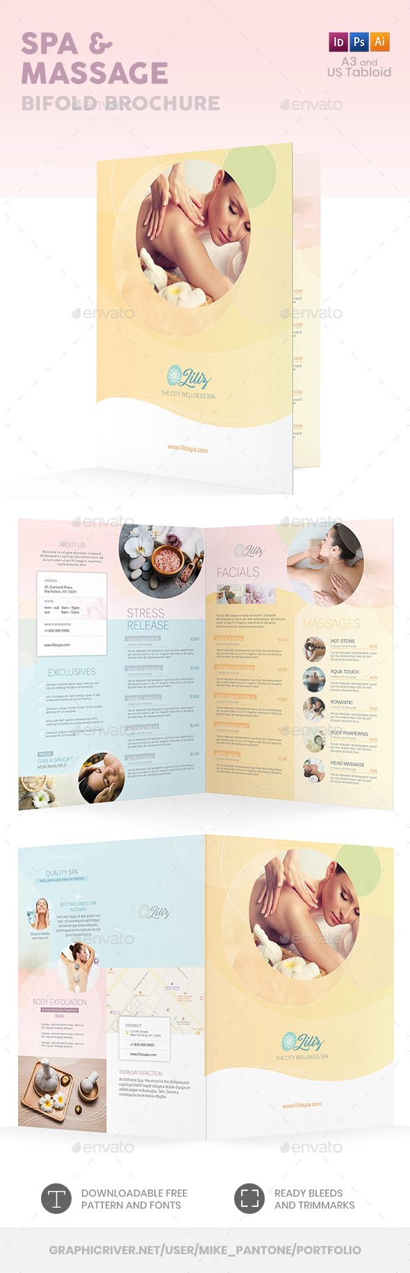 Spa and Massage Bifold / Halffold Brochure - Informational Brochures