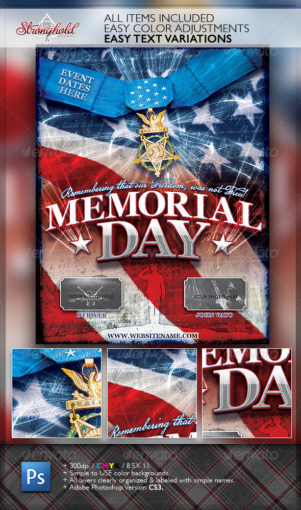 Memorial Day Patriotic Flyer Template By Getstronghold  Graphicriver