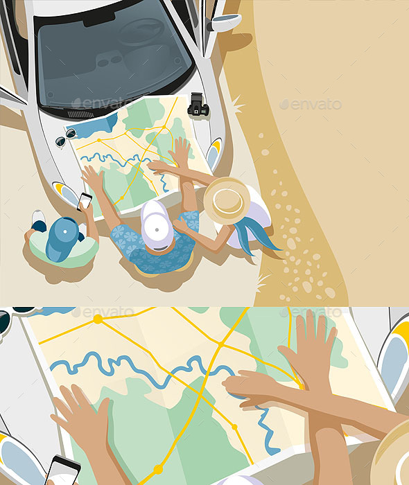 Trip People Car Map - Travel Conceptual