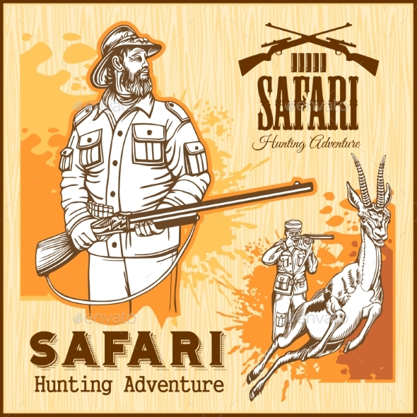 African Safari Hunting Retro Poster - Animals Characters