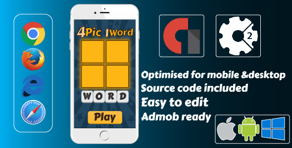 4 Pics 1 Word. Word Guessing Game+Admob - CodeCanyon Item for Sale
