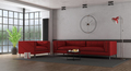 Red fabric sofa and armchair in a loft - PhotoDune Item for Sale