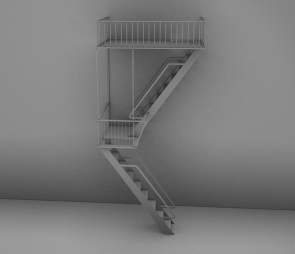 Detailed High Poly Fire Escape - 3DOcean Item for Sale
