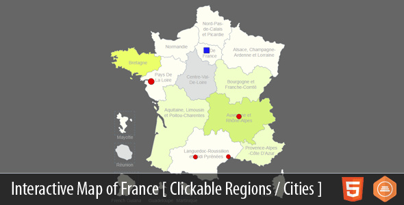 Interactive Map of France - HTML5 - CodeCanyon Item for Sale