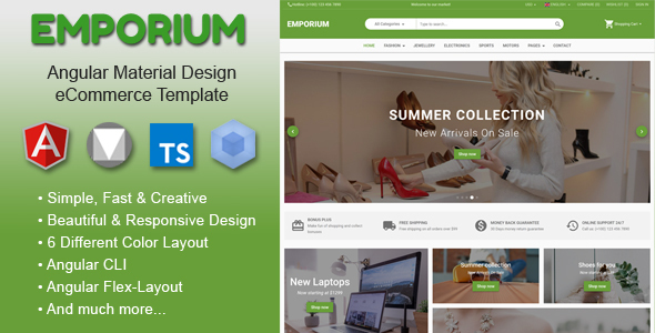 Emporium - Angular Material Design eCommerce Template - Shopping Retail