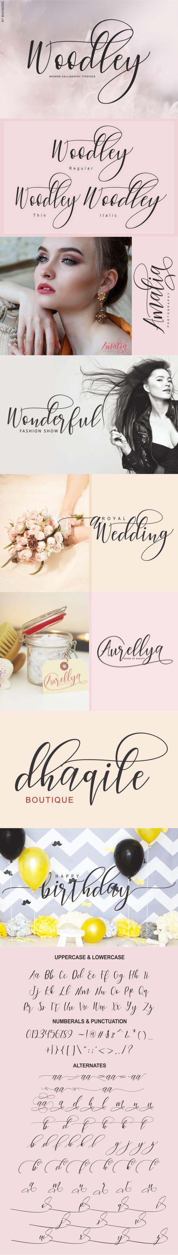 Woodley - Script Fonts