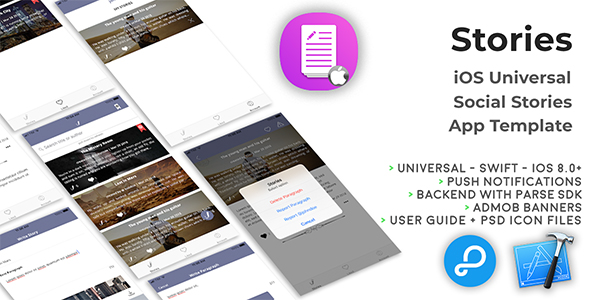 Stories | iOS Universal Fun Social Stories App Template (Swift)