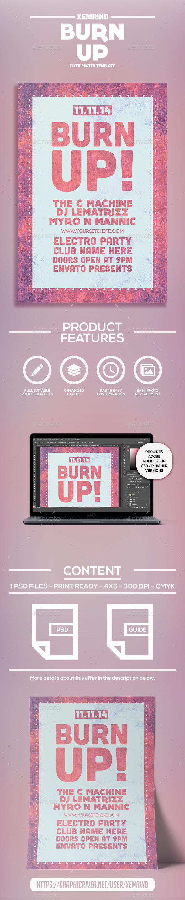 Burn Up Flyer Template - Clubs & Parties Events