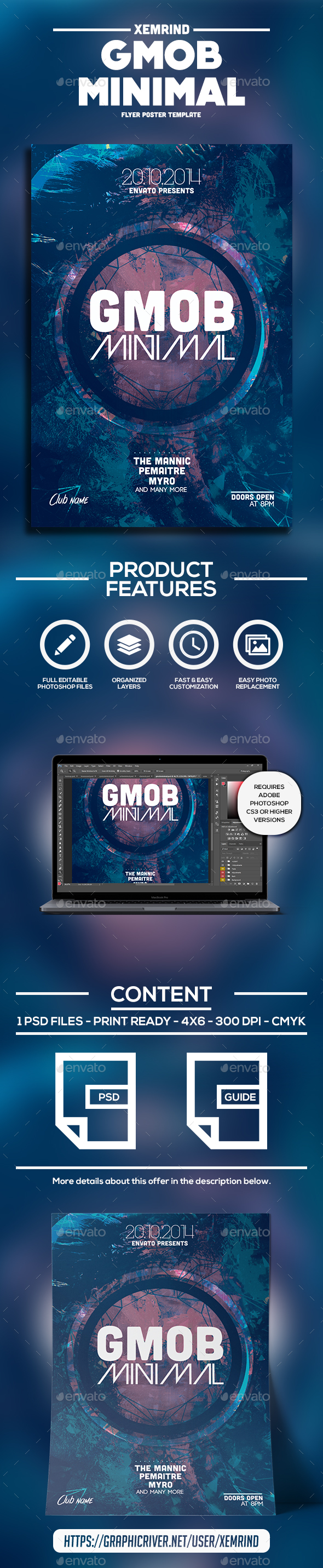 GMOB Minimal Flyer Template - Clubs & Parties Events