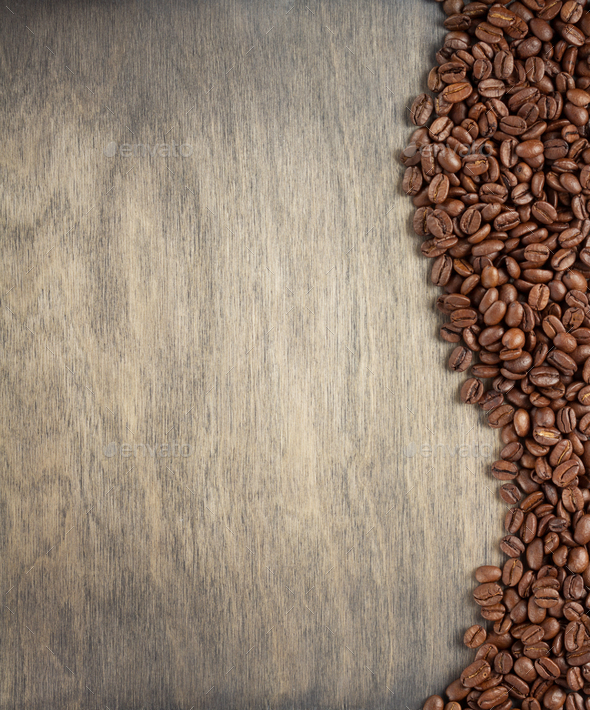 Coffee Beans On Wooden Background Stock Photo By Seregam