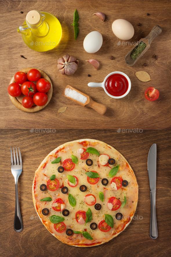 margarita pizza and food ingredients Stock Photo by seregam | PhotoDune