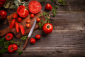 Flat lay composition with juicy tomatoes - PhotoDune Item for Sale