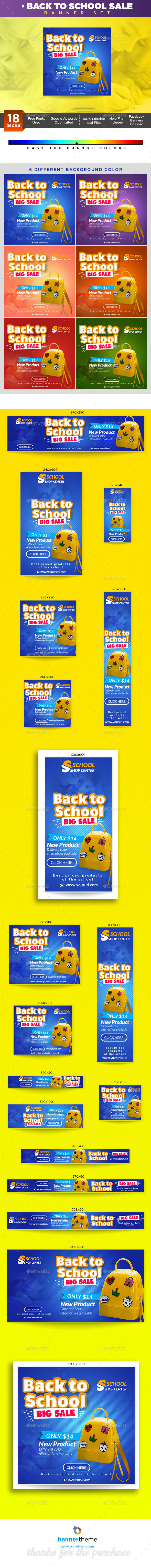 Back to School Sale Banner - Banners & Ads Web Elements