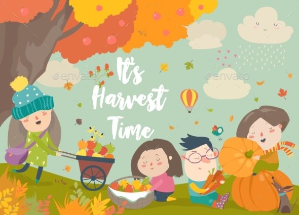 Cartoon Children Harvesting in Autumn Garden - People Characters