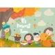 Cartoon Children Harvesting in Autumn Garden