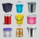 Realistic Metal and Plastic Buckets with Handle