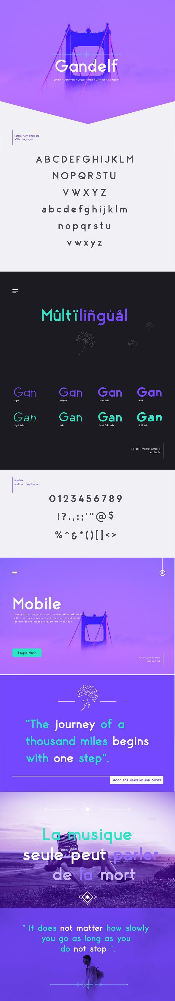 Gandelf - Elegant, Geometric, Clean, Fashionable Sans Serif Font - Sans-Serif Fonts