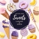 Vector Card with Yellow and Lilac Sweets - GraphicRiver Item for Sale