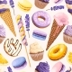 Seamless Pattern with Lilac and Yellow Sweets - GraphicRiver Item for Sale