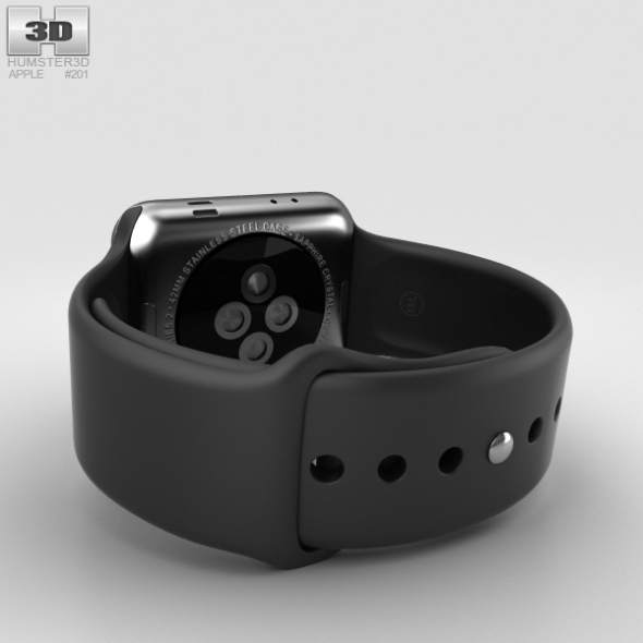 reputable site 45f77 2269a Apple Watch Series 2 42mm Space Black Stainless Steel Case Black Sport Band