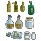 Cartoon Colorful Different Glass Bottles Set - GraphicRiver Item for Sale