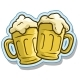 Cartoon Cool Beer Mugs Vector Sticker Icon - GraphicRiver Item for Sale