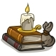 Cartoon Old Books and Candle Vector Icon