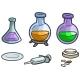 Cartoon Laboratory Flask Pills and Syringe - GraphicRiver Item for Sale