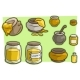 Cartoon Jar Cup with Honey Vector Icon Set - GraphicRiver Item for Sale
