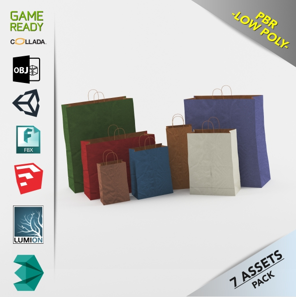 Paper Bags Gral1 - 3DOcean Item for Sale