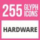 256 Hardware Glyph Icons
