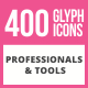 400 Professionals & their Tools Glyph Icons