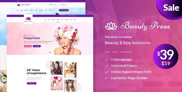 Beauty Salon Spa WordPress Theme - BeautyPress - Health & Beauty Retail