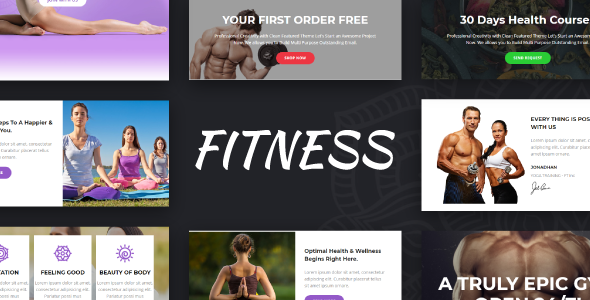 Fitness - Gym + Yoga + Fitness Responsive Email Templates - Online Builder + Mailster + Mailchimp