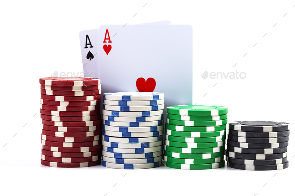 Two Aces With Chips - Stock Photo - Images