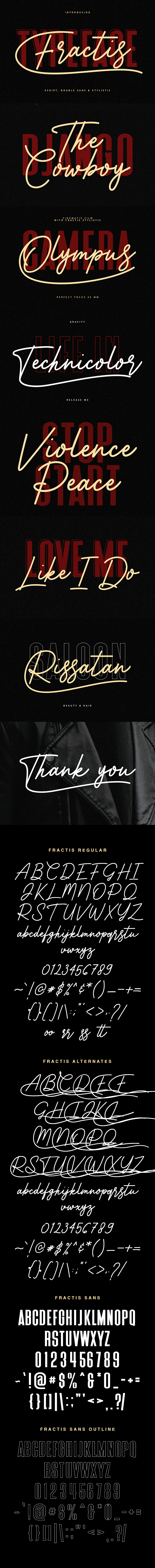 Fractis Typeface Collection - Calligraphy Script