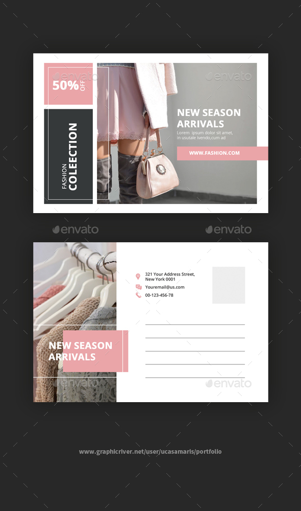 Beauty Fashion Postcard - Cards & Invites Print Templates