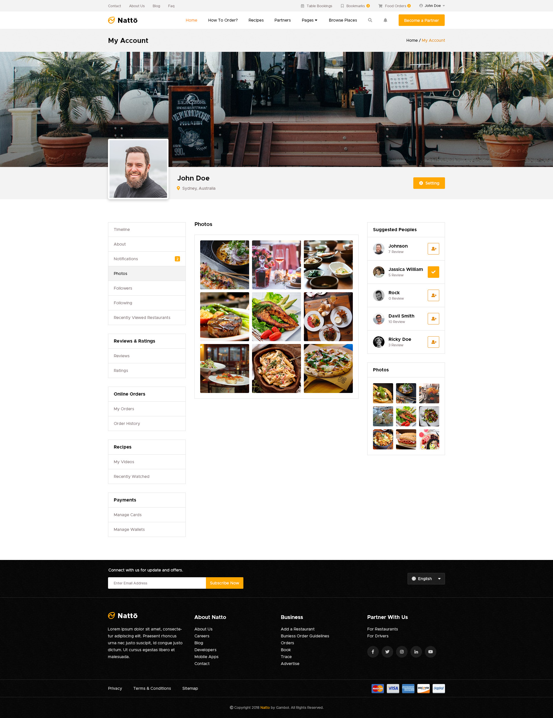 Natto Online Food Ordering Social Networking Psd Template By Gambol
