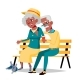 Elderly Couple Vector. Grandfather And Grandmother