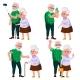 Elderly Couple Set Vector. Modern Grandparents