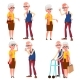 Elderly Couple Set Vector. Grandfather And