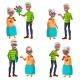 Elderly Couple Set Vector.